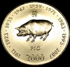 2000 SOMALIA 10 Shilling PIG SIGN of the ZODIAC COIN. Get in-depth info on the Chinese Zodiac Pig personality & traits @ http://www.buildingbeautifulsouls.com/zodiac-signs/chinese-zodiac-signs-meanings/year-of-the-pig-boar/