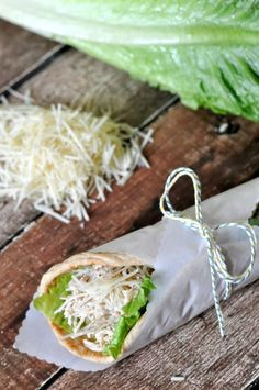CROCKPOT CHICKEN CAESAR PITAS Lunchtime solved. Get the recipe from The Love Nerds.