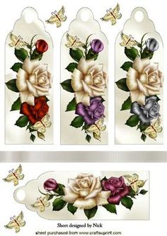 PRETTY ROSES WITH BUTTERFLIES BOOKMARKS on Craftsuprint - Add To Basket!