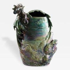 Delphin Massier French Art Nouveau Ceramic Vase by Massier