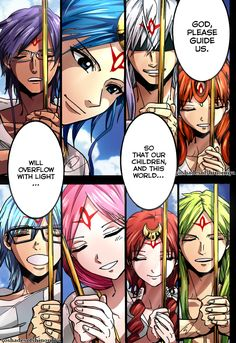 From Magi The Labyrinth of Magic, Characters: Setta, Solomon Jehoahaz Abraham, Wahid, Falan, Uraltugo Noi Nueph OR Ugo, Sheba, Arba, and Ithnan