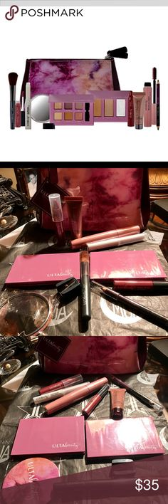 ULTA BEAUTY BUNDLE! 13 pieces 🔥 Valued at $88 😍 ULTA MAKEUP BAG LOT 😍This set includes: A lip primer full size, Ulta Maximum Lashes mascara Full size, Ulta Beauty Matte Lip Crayon Full size in color Soirée, Ulta Beauty tinted eye primer full size, Ulta Beauty color rush lip gloss in color Olivia, A double eyeliner in colors black & plum full size, blush brush, 6 color eyeshadow palette, 3 color highlight/blush palette & a purse mirror Normal retail $88‼️  ✅REASONABLE OFFERS ACCEPTED 💞😘…