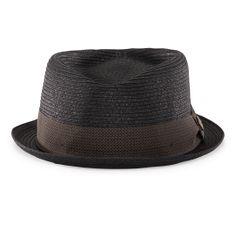 Tropicana Black Straw Porkpie Fedora hat front view