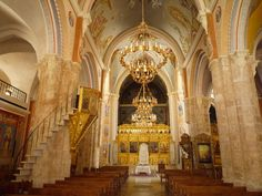 This is the interior of a maronite church in lebanon
