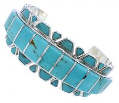 Genuine Sterling Silver Southwest Turquoise Inlay Cuff Bracelet EX27710 http://www.silvertribe.com