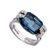 OroClone Silver and Denim Blue Swarovski Crystal Ring ($30) ❤ liked on Polyvore featuring jewelry, rings, blue silver ring, denim jewelry, silver jewellery, blue ring and sparkle jewelry