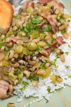 "Hoppin' John is a southern dish traditionally eaten at the stroke of midnight on New Year's Eve for good luck during the new year. ""Eat poor that day, eat rich the rest of the year.  Rice for riches and peas for peace!"""