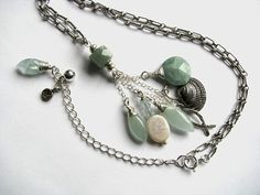 Aquamarine and Pearl Pisces Beach Necklace with by saltyduck, $139.00