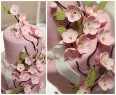 Cherry Blossom Cake  http://sugarbeebeephotography.com/2011/07/14/my-baby-girls-1st-birthday-party-an-american-dol/
