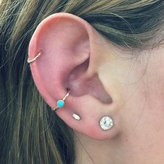 New gold and turquoise ear jewels for @emilytessbieber  #newyorkadorned #piercings