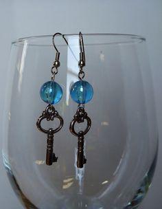Blue Bubble Key Earrings by misslonabear01 on Etsy, $5.00