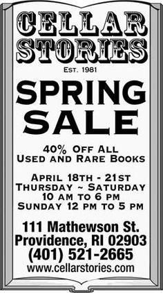 Cellar Stories Bookstore 40% off thru April 21st!