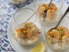 gambas, carré frais, miel, sésame, mélange 5 baies, huile d'olive