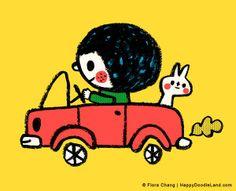 Happy car ride! | flora chang | Happy Doodle Land