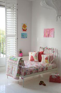 White Children's Room + Children's Art + Eclectic Boho Textiles + Plantation Shutters ❤️ Room Seven bedding!!!