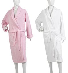 Ladies Plain Towelling Dressing Gown S/M or L/XL (Pink or White)