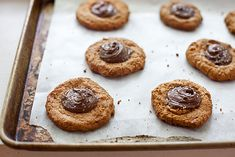 gluten-free peanut butter salted nutella thumbprint cookies. i wanna make these again today. #glutenfree