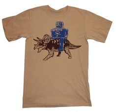 Happy Family Robot Rides Triceratops Mens T-Shirt - Small - Tan