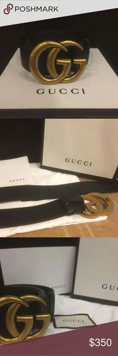 New Authentic Gucci Gold Brass Belt!!!!! New 100% Authentic Gucci Gold Brass belt. I have multiple sizes in stock. Has a gold buckle comes with dust bag, tags and gucci box with a card. Ships out within 24 hours of purchase. Will take reasonable offers but price is firm for the most part. If any questions message me! Gucci Accessories Belts