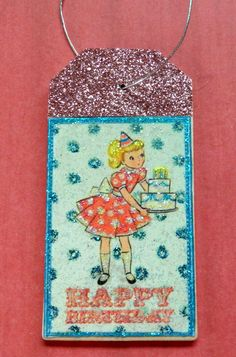 Little girl in bonnet vintage easter gift tag glitter wood tag vintage girl happy birthday gift tag gift tag glitter wood tag birthday gift tag birthday sentiments glitter necklace blue pink negle Choice Image