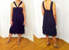 JEAN PAUL GAULTIER Soliel Royal Blue Nylon Dress Made in Italy.