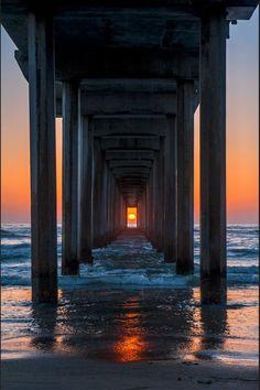 Sundown beach shows the wide far away shot perspective.