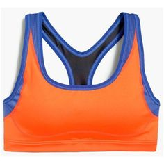 New Balance For J.Crew Colorblock Sports Bra ($59) ❤ liked on Polyvore featuring activewear, sports bras, new balance, orange sports bra, new balance activewear and new balance sports bra