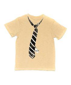 Love this Wheat Striped Tie Tee - Toddler & Boys on #zulily! #zulilyfinds