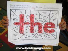 Heidisongs Resource: Brand New: Hidden Sight Word Coloring Worksheets! (Freebie alert!)