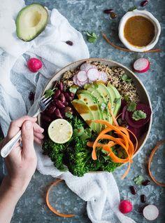 Vegan grain and vegetable bowl + a cookbook giveaway! Heart Healthy Recipes, Delicious Vegan Recipes, Healthy Salad Recipes, Whole Food Recipes, Healthy Snacks, Vegetarian Recipes, Eating Healthy, Ayurveda, Vegan Cookbook