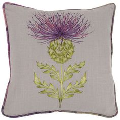 embroidered thistle pillow - purple tartan furnishings