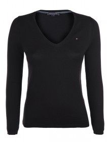 Tommy jersey mujer cuello pico - negro
