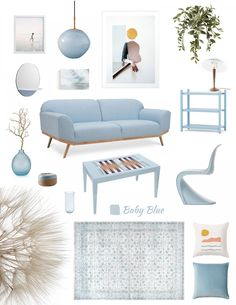 Moodboard for home decor in pastel blue interior color trend Pastel Home Decor, Colorful Decor, Colorful Interiors, Home Design, Interior Design, Blue Living Room Decor, Living Etc, Home Decor Trends, Color Trends