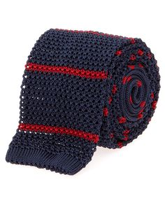 Navy and Red Radi Knitted Silk Tie
