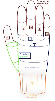 Guide to individual measurements for knitting gloves.