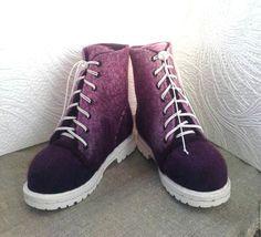 Обувь ручной работы. Ярмарка Мастеров - ручная работа. Купить Ботинки женские. Handmade. Фиолетовый, обувь по меркам, шерсть 100%