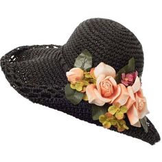 Black Straw Flower Accent Wide Brimmed Hat (94 RON) ❤ liked on Polyvore featuring accessories, hats, vintage style hats, garden party hats, tea hats, summer straw hats and garden tea party hats