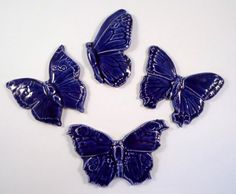 4 handmade Butterfly tiles mosaic ceramic tiles by mosaicmonkey, $6.50