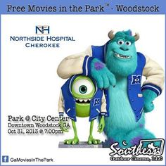 Woodstock GA - Halloween outdoor movies for the kids.  Sponsored by Northside Hospital, Southern Outdoor Cinema of Atlanta and The City of Woodstock