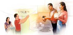 Un matrimonio tiende la ropa y lava los platos juntos