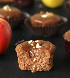 These spiced applesauce cupcakes are maple sweetened and have an amazing maple almond butter glaze-like frosting!