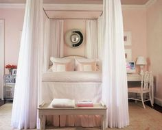 Soft pink and white bedroom -- girly girly heaven <3 I love the idea of curtains around  my bed to hide away in a secret place...