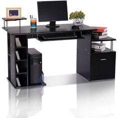 pc workstation desk - Google Search Black Desk, Grey Desk, Modern Office Table, White Office Furniture, Desk Tidy, Pc Desk, Drawer Shelves, Desk Storage, Shelf