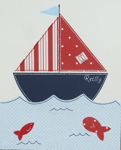 Sailboat Nautical Nursery Art Boy Wall Art Nursery by JadieBaby, $24.00