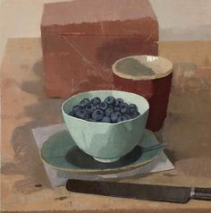 Susan Jane Walp, Blueberries in a Bowl with Red Cup Knife and Brick, 2012, oil on linen, 9 1/8 x 9 1/8 in.