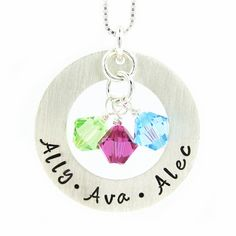 Hand Stamped Jewelry  CIRCLE of LOVE  Mothers by jcjewelrydesign, $46.00