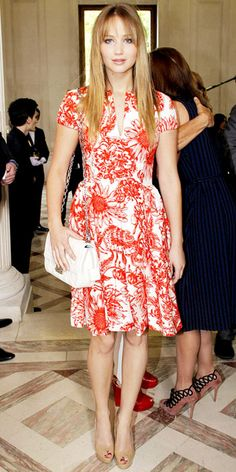 07/03/12: Katniss who? #JenniferLawrence actress took a feminine turn in a flirty, floral design. #lookoftheday http://www.instyle.com/instyle/lookoftheday/0,,,00.html