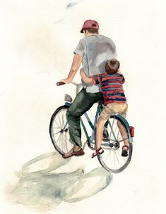"""""""Father and Son"""", a fine art print, 21 x 30 cm on original watercolor paper by Monja Gentschow Dad Son, Father And Son, Bike Illustration, Indian Illustration, Mother Art, Fathers Day Quotes, Cycling Art, Bike Art, Cartoon Wallpaper"""