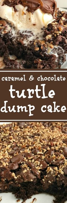 Carmel & Chocolate Turtle Dump Cake: 1 small box oz) Jell-O Chocolate Instant Pudding cups whole cup caramel sauce, box oz) chocolate fudge cake mix, DO NOT bag dark chocolate cup chopped pecans 13 Desserts, Delicious Desserts, Yummy Food, Meringue Desserts, German Desserts, Homemade Desserts, Health Desserts, Dump Cake Recipes, Dessert Recipes