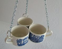 Recycled Vintage Blue Willow China Garden Bird Feeder, Blue Willow Cups and Chain Hanging Bird Feeder, Garden Decor, Teacup Bird Feeder